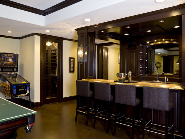 French country custom built bar wine cellar for Built in wine bar ideas