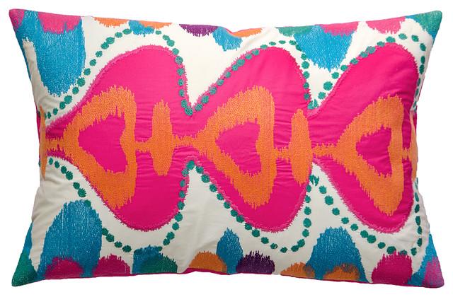 "Totem Pillow, Pink/Mouve/Green, 13"" x 20"" mediterranean-decorative-pillows"