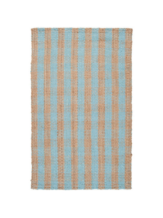 Natural Fiber Rugs & Carpets - Made of 100% jute.  Aqua and natural colored jute plaid rug.  Offered in standard and custom sizes.  Purchase from Hemphill's Rugs & Carpets Orange County, CA www.RugsAndCarpets.com