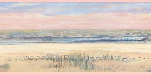 Pink Footprints in the Sand Wallpaper Border traditional-wallpaper