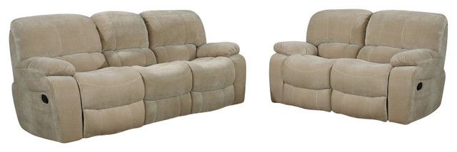 U2007 Beige Champion Froth Fabric Three Piece Sofa Set With Built-in Recliners traditional-sofas
