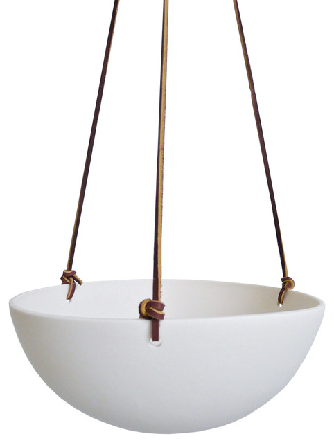 Eggshell hanging planter contemporary indoor pots and for Decorative hanging pots