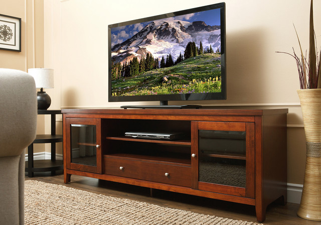 Abbyson Living Charleston 72-inch Walnut Solid Oak Wood TV Console ...