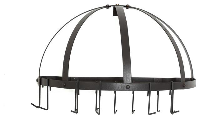 Pot Rack w/Grid & 12 Hooks, RTA, Graphite traditional-pot-racks-and-accessories