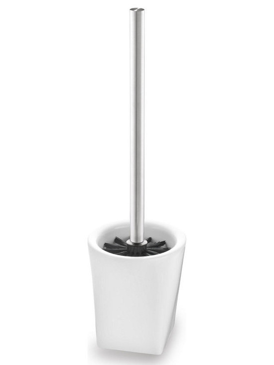 Blomus - Liquo Porcelain Toilet Brush - Stainless steel and porcelain. Available as stand alone or wall mountable.