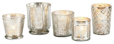 Mercury Glass Votives - Assorted Set of 5 eclectic candles and candle holders