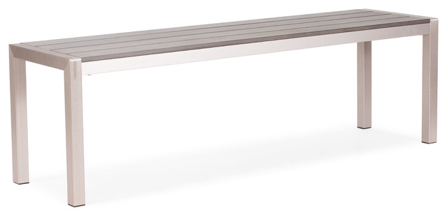 Metropolitan Bench Brushed Aluminum contemporary-outdoor-lounge-chairs
