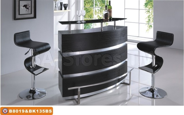 3 Pc Modern Bar Set In Black And Chrome Bar Table And Two Black Сrooked Barstoo