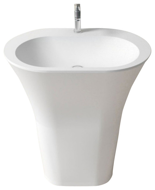 Stone Resin Sink : ADM Matte White Stone Resin Pedestal Sink - Modern - Bathroom Sinks ...