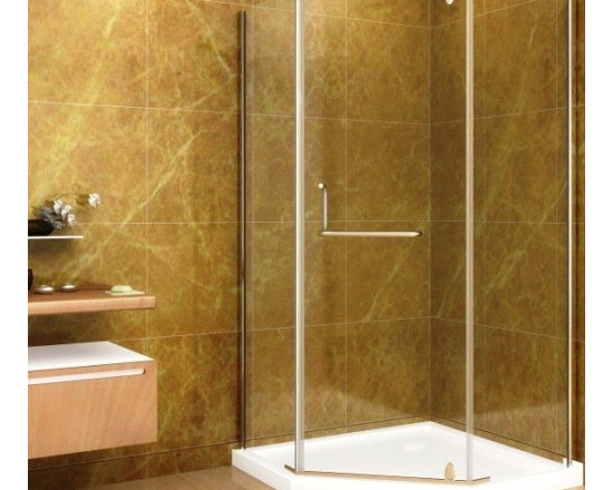"Aston Global Neo-Angle 40"" x 40"" Shower Enclosure with Shower Base in Chrome Fin - Neo-Angle Pivot Shower Door with Receptor"