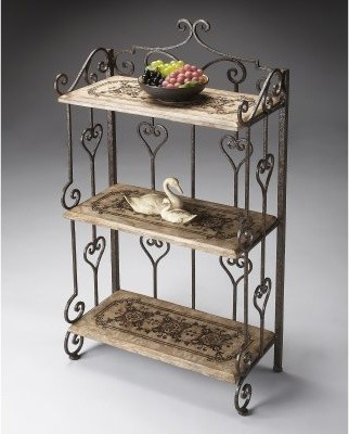 Butler Fossil Stone Metalworks Heart Scroll 3 Shelf Etagere modern-bathroom-cabinets-and-shelves