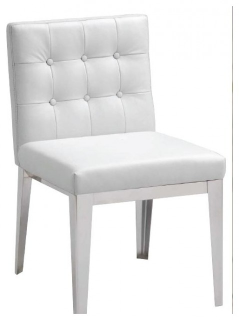 White Leather Dining Chair Contemporary Dining Chairs