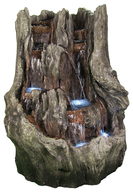 Cascading Mountain Falls Outdoor Water Fountain w LED