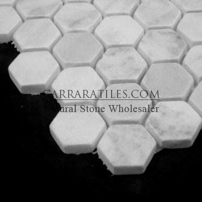 "Carrara Marble 1"" Hexagon Mosaic Tile Tumbled White Bianco Carrera"