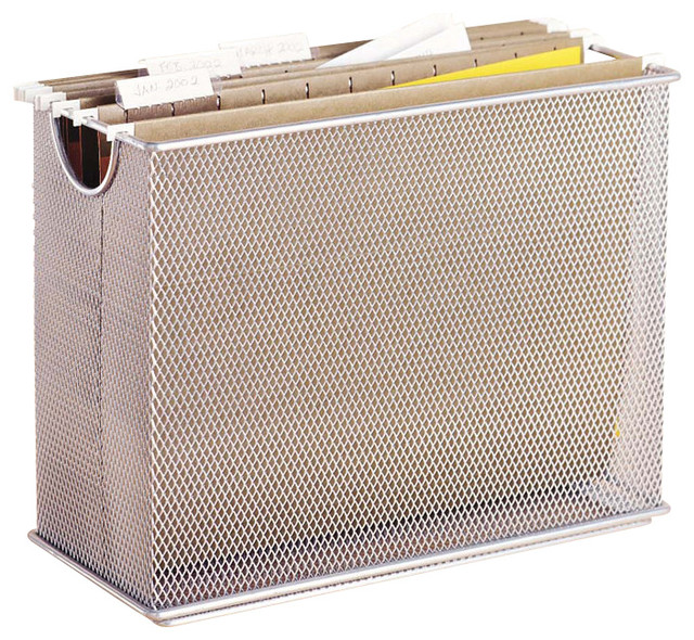Mesh Desk File Organizer - Silver - Contemporary - Home Office Accessories - by The Organizing Store