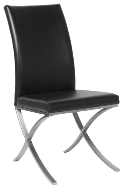 Allan Copley Designs Emma Set of Two Dining Chairs in Black Leatherette w/ Polis modern-dining-chairs