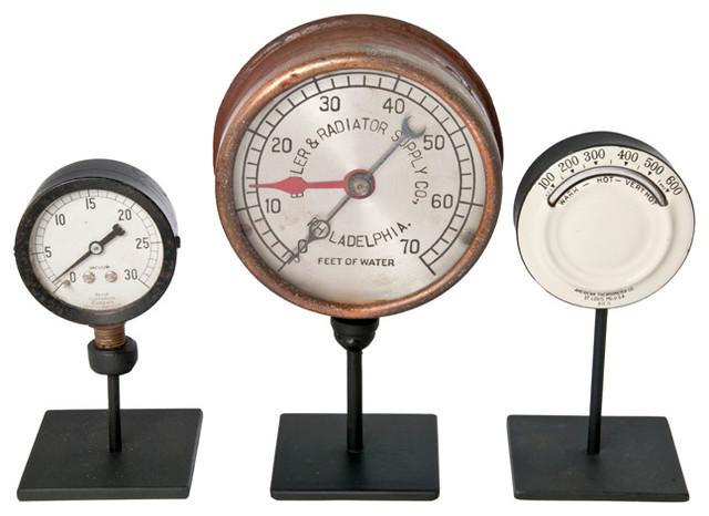 Set Of Three Vintage Industrial Gauges On Stands 3 industrial-home-decor