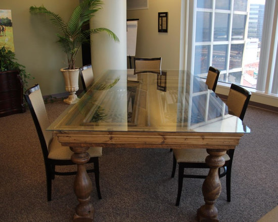 Conference Table, Custom Built from Antique Door -