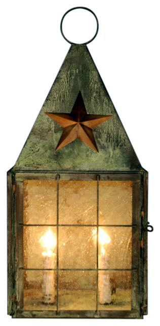 Americana star colonial wall sonce copper lantern for Outdoor colonial lighting