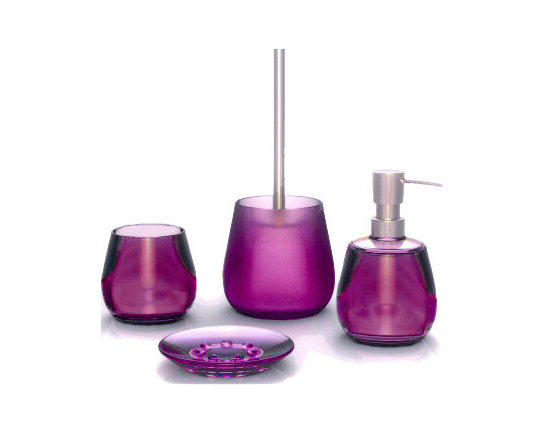 Bowl Modern Acrylic Bathroom Accessories from Vita Futura - Our Bowl acrylic bathroom accessories are unique, beautiful and modern. Made of durable acrylic, these contemproary bath accessories are available in your choice of four rich colors: purple, red, blue and grey and in four sizes including a water glass, soap dispenser, soap dish and toilet brush set.  As with all of the products offered by Vita Futura, our Bowl accessories are designed and produced in Germany.