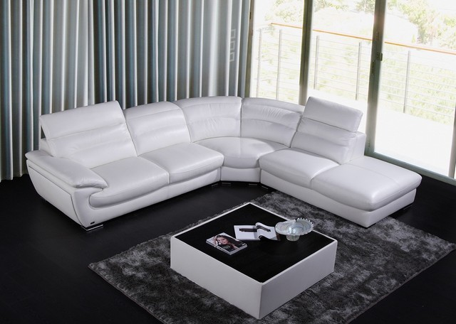 8468 Contemporary White Leather Sectional Sofa modern-sectional-sofas
