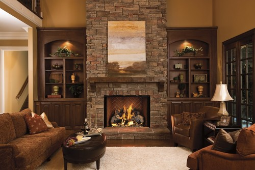 Love the stone fireplace and mantel. What's the name of the stone and ...