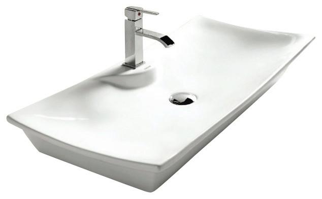 Rectangular White Ceramic Vessel Bathroom Sink, One Hole contemporary ...