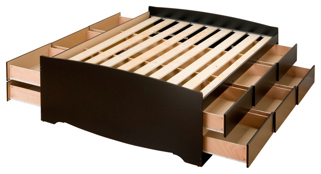 Prepac Tall Double / Full Platform Storage Bed in Black with 12 Drawers modern-platform-beds