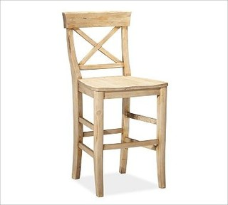 Aaron Barstool Medium Wax Pine Finish Traditional