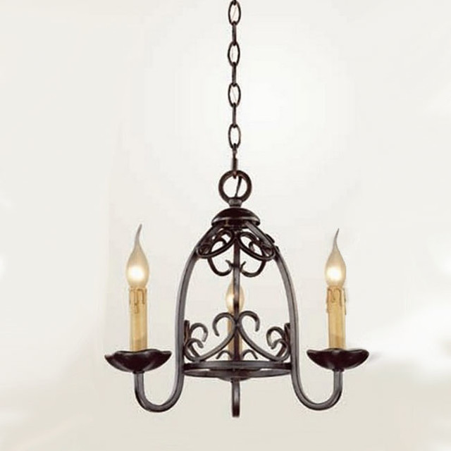 Modern Chandeliers Nyc: Country Iron Art And 3 Candles Chandelier