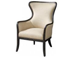 www.essentialsinside.com: zander tan wingback armchair contemporary-accent-chairs