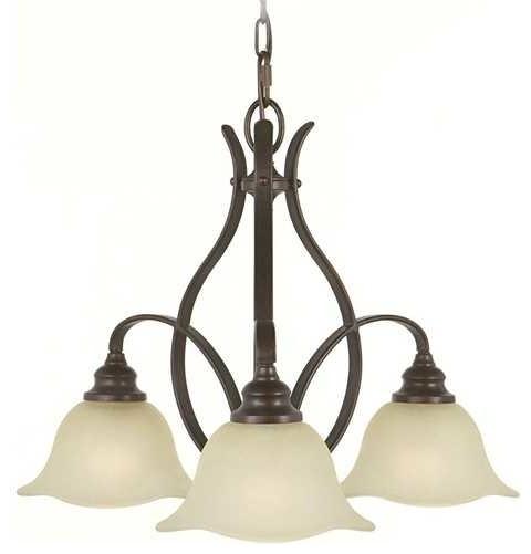 Chandelier with Beige / Cream Glass in Grecian Bronze Finish chandeliers