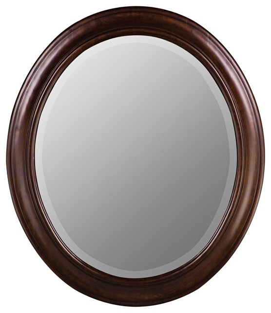 Chelsea Tobacco Birch Wood Oval Mirror Traditional