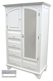 Cottage Style Mirrored Armoire, RiverWash Top with White - Traditional ...