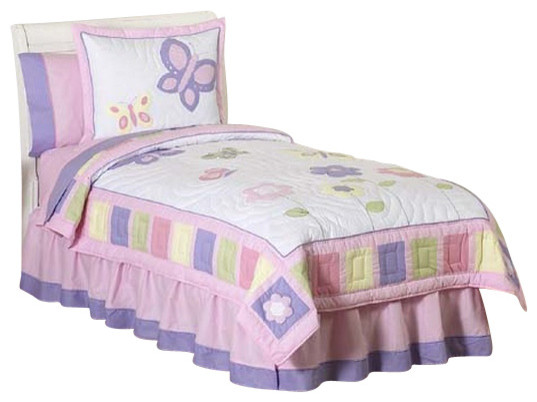 Butterfly Pink and Lavender Bedding Set Twin (4-Piece) contemporary-kids-bedding