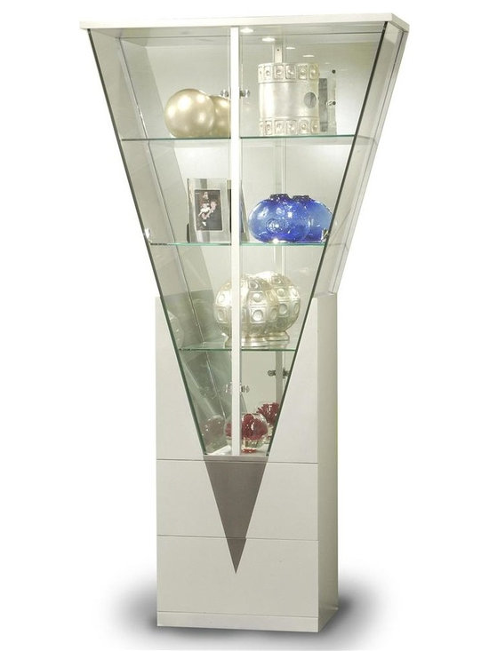 Chintaly - Contemporary Triangular Glass Curio Cabinet w - Three glass shelves. Mirrored interior. Locking doors. Ample storage space. Made of Wood. Minimal assembly required. 15 in. D x 41 (22) in. W x 78 in. H. 2 bottom drawers