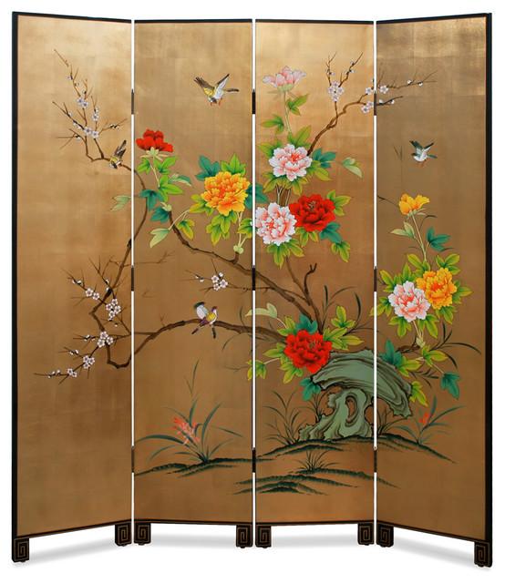 Gold Leaf Bird Flower And Bamboo Motif Floor Screen