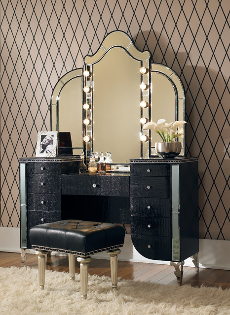Vanity Set With Lights On Mirror : Hollywood Swank 3 Piece Vanity Set in Black - Traditional - Makeup Mirrors - orange county - by AMOC