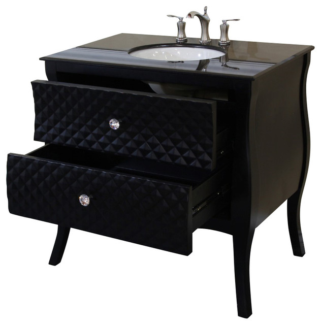 35 4 inch single sink vanity wood black white phoenix for Black and white bathroom vanity