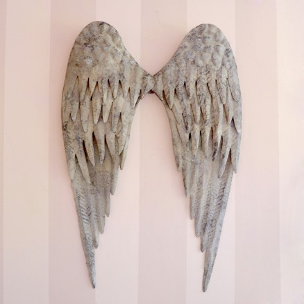 Lovely distressed metal angel wings in grey for Angel wings wall decoration