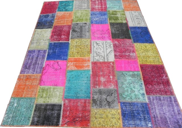 Multi Color Patchwork Rug Made From Distressed Overdyed