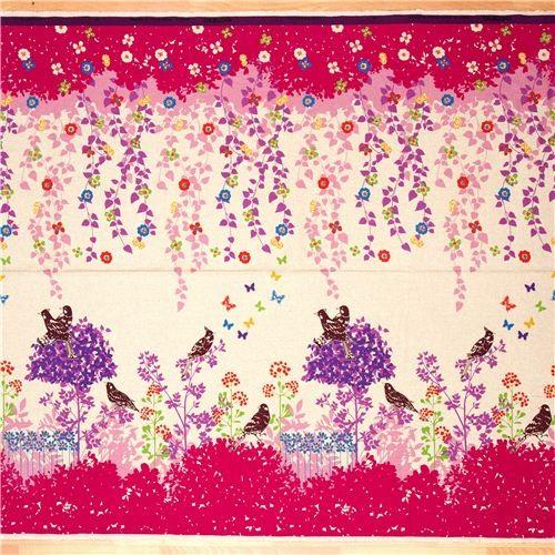 echino canvas fabric Wish pink birds flowers fabric