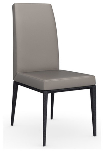 Bess Gummy Leather Chair Graphite Legs Taupe Set Of 2 Modern Dining Ch