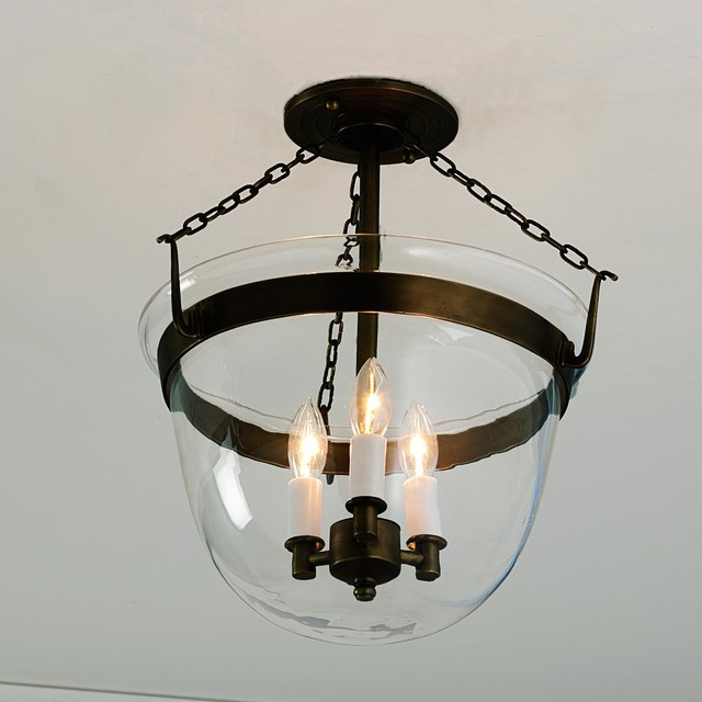 Lantern Bathroom Vanity Lights : Smokebell Semi-flushmount Ceiling Lantern -4 finishes! - Bathroom Vanity Lighting - by Shades of ...