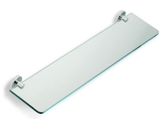 """Glass Bathroom Shelf by StilHaus - 23.6"""" shelf is made of clear glass and brass with finishes available in chrome or brushed nickel. Glass bathroom shelf for a contemporary themed room. Width: 23.6"""" Height: 2"""" Depth: 4.7"""""""
