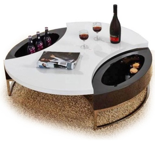 MODERN WHITE AND BLACK ROUND SWIVEL COFFEE TABLE WITH