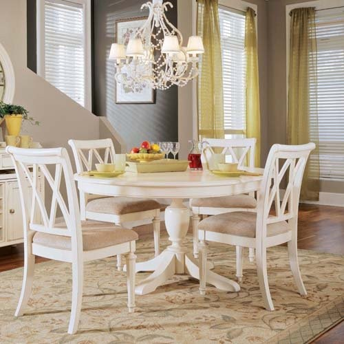Drew Camden Round Pedestal Table White Traditional Dining Tables