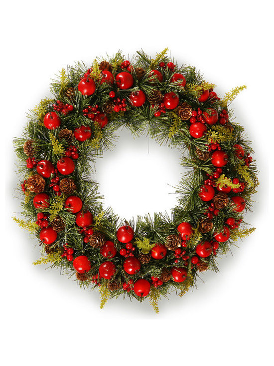 Winward Designs - Crabapple Wreath 21 inch - If you're a fan of either red fruit, this just might be your wreath. In addition to crabapples, this wreath features pine cones, pine tips and holly berries.