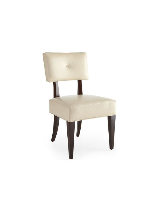 """Bernhardt - Bernhardt """"Jordan"""" Upholstered Side Chair - Soft curves in a truffle finish combine with ivory leather for a highly contemporary look. Crafted of select hardwood solids with pomele burl and quartered ribbon-stripe sapele veneer detailing. Ivory leather seat and back. 21""""W x 23""""D x 36""""T. Impo..."""