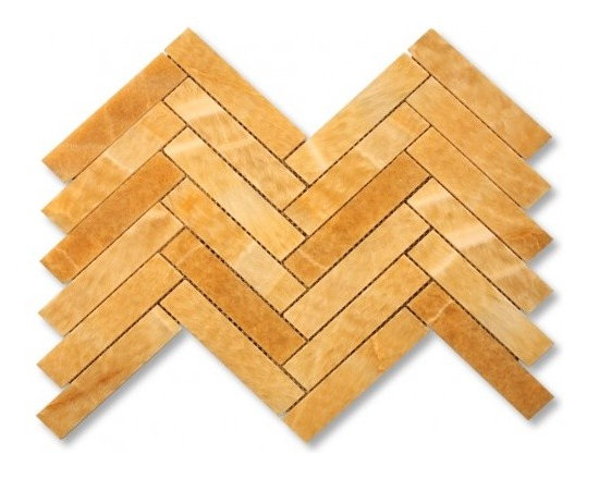 Honey Onyx Large herringbone stone mosaic tile - Honey onyx large herringbone stone mosaic
